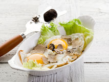 Eggs with truffle stock images