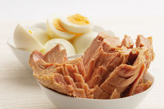 Eggs and tuna Royalty Free Stock Photography
