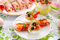 Eggs with tuna spread and olives for easter breakfast Stock Images