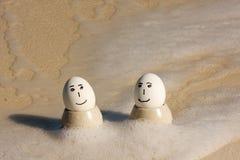 Eggs on vacation stock photos