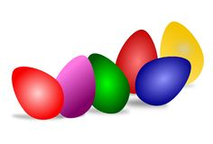 Eggs in various colors for Easter. Eggs in various Easter colors on a white background vector illustration