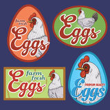 Eggs vintage labels. For using in different spheres Stock Photo