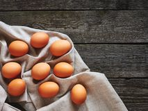 Eggs on a vintage table Royalty Free Stock Images