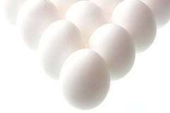 Eggs on white. Standing eggs on white background Royalty Free Stock Images