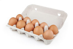 Eggs on white background. Eggs in package on white background with clipping path stock photos