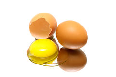 Eggs on a white background with reflection closeup Stock Photography