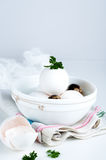Eggs in white bowl a healthy food for gift Royalty Free Stock Photo