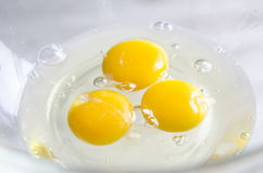 Eggs in white bowl  on kitchen table Royalty Free Stock Images