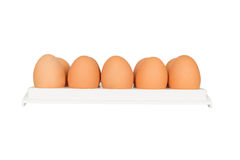 Eggs in white container Royalty Free Stock Images
