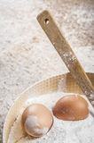 Eggs in white flour Stock Photos