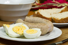 Eggs and white sausages Royalty Free Stock Photos