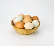 Eggs in wicker basket Royalty Free Stock Photos