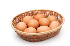 Eggs in a wicker basket Stock Photos