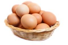 Eggs in wicker basket. Stock Images