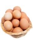 Eggs in wicker basket. Royalty Free Stock Photos