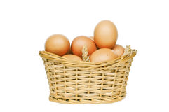 Eggs in wicker basket isolated on white Stock Images