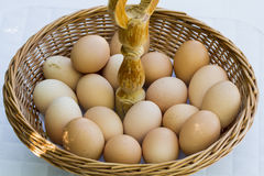 Eggs. Wicker basket with some eggs Royalty Free Stock Photography