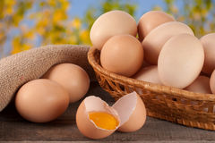 Eggs in a wicker basket on a wooden board with blurred garden background Stock Photography