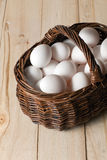 Eggs in a wicker basket Royalty Free Stock Image