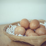 Eggs in a wicker basket. Royalty Free Stock Image