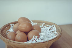 Eggs in a wicker basket. Royalty Free Stock Photos