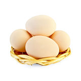 Eggs in a wicker plate Royalty Free Stock Photos