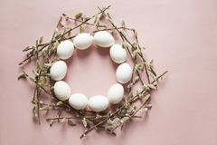 Eggs and willow stock photo