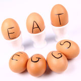 Eggs With An Inscription EAT EGGS Royalty Free Stock Photos