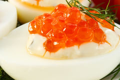 Eggs With Red Caviar Stock Images