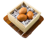 Eggs in wood case Royalty Free Stock Photo