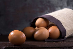 Eggs on wood Stock Photo