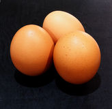 Eggs on Wooden Background Stock Image