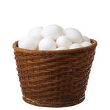 Eggs in the wooden basket Stock Image