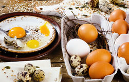 Eggs on a wooden board. Royalty Free Stock Image