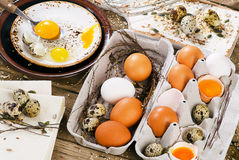 Eggs on a wooden board. Stock Photography