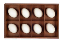Eggs in wooden box Royalty Free Stock Image