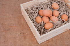 Eggs in the wooden box Royalty Free Stock Photography