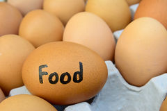 Eggs with  word food  on egg crate for food concept Stock Images