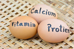 Eggs with word vitamin,protien,calcium  for food concept Royalty Free Stock Photo