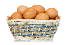 Eggs  in a woven basket Royalty Free Stock Photography
