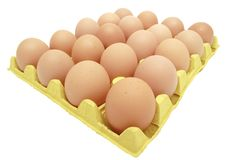 Eggs in yellow eggtray Royalty Free Stock Images