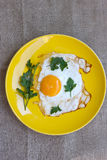 Eggs in yellow plate Stock Photography