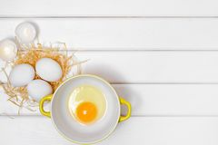 Eggs yolk in a plate Royalty Free Stock Image
