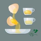 Eggs, yolks, eggshells, glass bowl, cups. Royalty Free Stock Photos