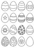 Eggs you color. 16 eggs ready to color, 15 have decorations and one is plain Royalty Free Stock Photo