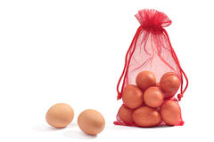 Eggshell. Eggs are packed in mesh bags Royalty Free Stock Photos