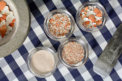 Eggshells задавленные с пестиком и минометом Стоковые Изображения