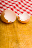 Eggshells on kitchen board Stock Photo