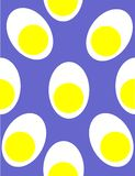 Eggszactly egg pattern. Multiple eggs sliced on a blue repeat  seamless background illustration Royalty Free Stock Photography