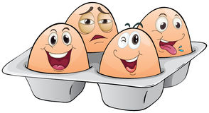 An eggtray with four eggs Stock Photo